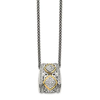 925 Sterling Silver Polished Prong set Lobster Claw Closure 14k Yellow Diamond Necklace 18 Inch Jewelry Gifts for Women