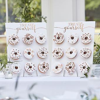 Rose Gold Kupfer vereitelt botanische Doppel Donut Wand - Lebensmittel-Display