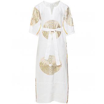 Kori Labyrinth Embroidered Linen Midi Dress