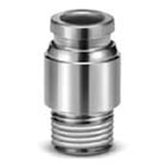 SMC Pneumatic Straight Threaded-To-Tube Adapter, M5 X 0.8 Male To 6Mm