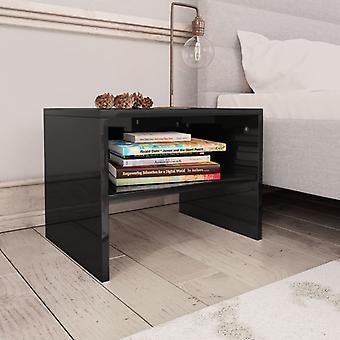 vidaXL ベッドサイドテーブル ハイグロスブラック 40 x 30 x 30 cm のチップボード