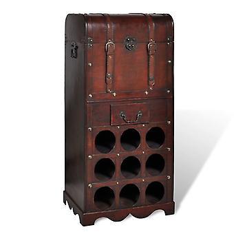 vidaXL wooden bottle rack for 9 bottles with storage structure