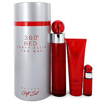 Perry Ellis 360 Red by Perry Ellis Gift Set -- 3.4 oz Eau De Toilette Spray + .25 oz Mini EDT Spray + 3 oz Shower Gel in Tube Box