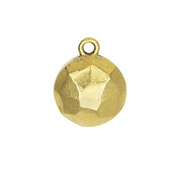 Final Sale - Metal Charm, Flat Back Faceted Circle 13mm, Antiqued Gold, 1 Piece, by Nunn Design
