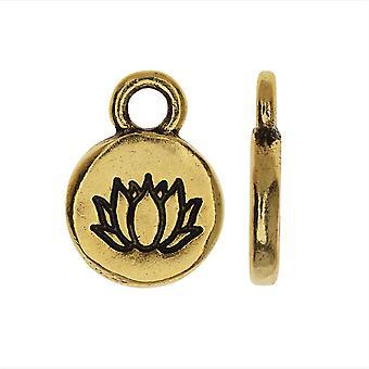 Nunn Design Itsy Charm, Lotus Flower 9mm, 1 Stycke, Antikt Guld pläterat
