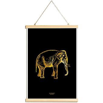 JUNIQE Print - Gold Elephant - Elephant Poster in Gold & Black