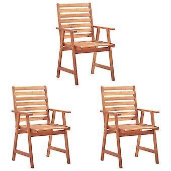 vidaXL jardín sillas de comedor 3 piezas con cojín de madera maciza acacia