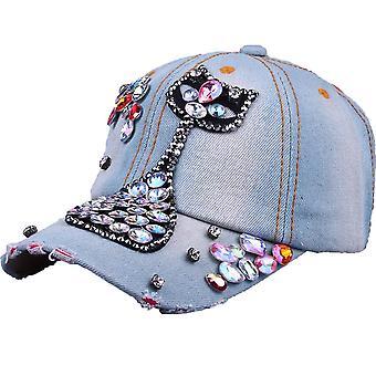 קיטי יהלום ג'ינס בייסבול כובע רקמה סנאפבק כובעים