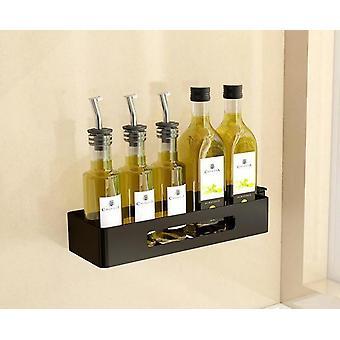 Black Wall Hanging Non Punching Kitchen Corner Shelf Rotating Condiment Rack Knife Fork Chopsticks