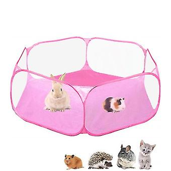 Guinea Pig Cage Rabbit Cage , Pet Play Yard Fence Portable Tent(Pink)