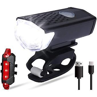 Bright Led Bike Light Set Faro delantero y luz trasera para paseo nocturno en bicicleta (negro)