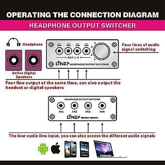 4 Bemenet 4 kimeneti fejhallgató 3,5 mm Mp3 audio jelváltó digitális multi-ch