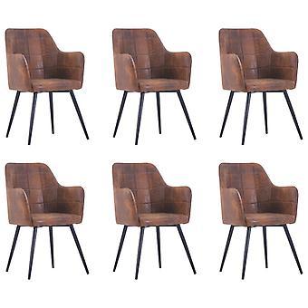 vidaXL chaises à manger 6 pcs. Braun En daignite