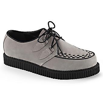 Demonia Unisex Chaussures CREEPER-602S Suède grise