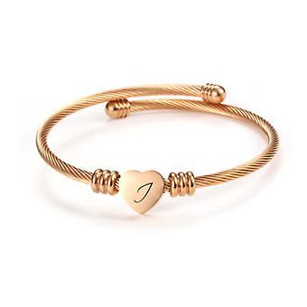 Heart initial cable twist bracelet