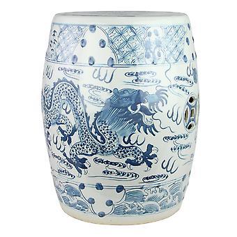 Hieno aasialainen itävä keraaminen puutarhajakkara sininen valkoinen käsinmaalattu lohikäärme D33xH45cm