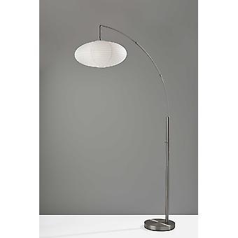 Paper Lantern Floor Lamp Brushed Steel Metal Crescent Arm