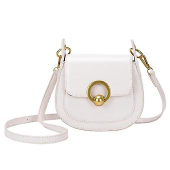 Solid Color Pu Leather Saddle Bags For Women  Fashion Shoulder Simple Bag Lady High Quality Flap Handbags