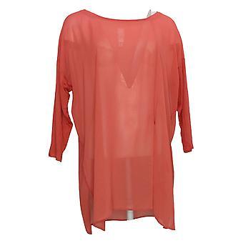 WynneLayers Women's Plus Top Mixed Media Dolman-Sleeve Tunic Red 694604