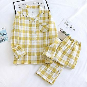 Spring And Summer New Pair 100% Cotton Crepe Pajamas Two-piece Men Wit