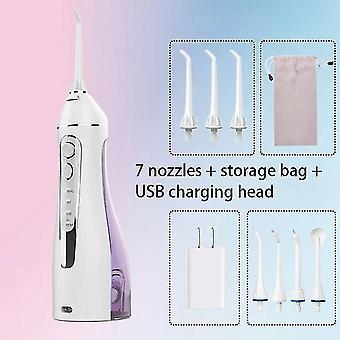 Kannettava suullinen ärsyttäjä matkapussilla vesilanka USB ladattava 5 suutinta vesisuihku 200ml