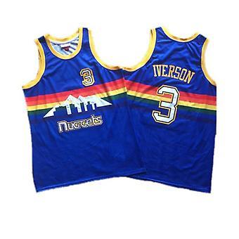 Mens Basketball Jersey #3 Iverson #55 Dikembe Mutombo 1991 Road Swingman Jerseys 90s Hip Hop Outdoor Sports T-shirt S-xxl