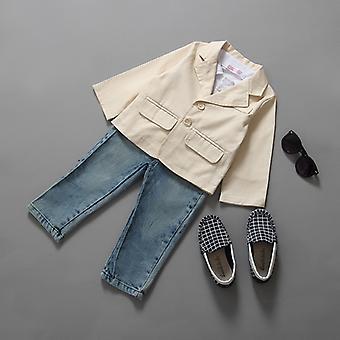 Kid Boy Gentleman Blazer Coat Polo Shirt Denim Pants Set Clothes Outfit