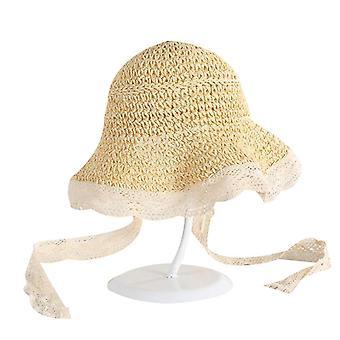 Kids Girls Straw Sun Hat, Chapéu boné com alça de renda
