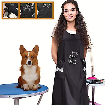 Sleeveless Waterproof Pet Grooming Apron With Pockets, Anti-static Hair Repellent Dog And Cat Grooming Apron, Pet Bathing Shower Overalls, Pet Shop Be