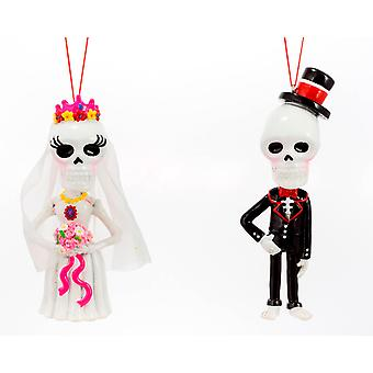 Day Of The Dead Bride and Groom Christmas Holiday Ornaments Set of 2