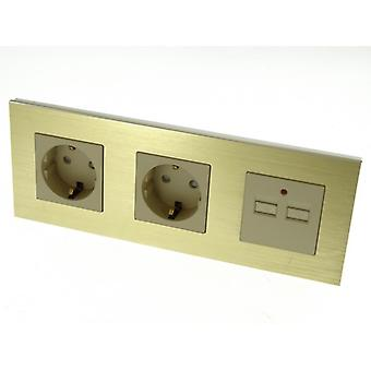 I LumoS Luxury Gold Brushed Aluminium Frame Double German EU 16A Schuko + 2.1A USB Triple Socket