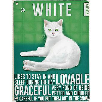 Medium Wall Plaque 200mm x 150mm - White Cat by The Original Metal Sign Co