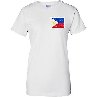 Filipinas agobiados Grunge efecto bandera diseño - diseño de pecho de las señoras camiseta