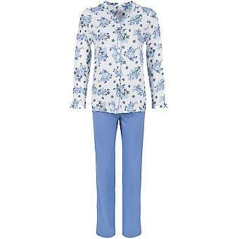 Pastunette 2062-365-6-527 kvinners blå blomster bomull Pyjamas PJs