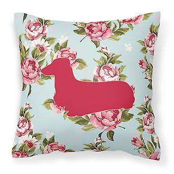 Teckel Shabby chique blauwe rozen Canvas stof decoratieve kussen BB1078