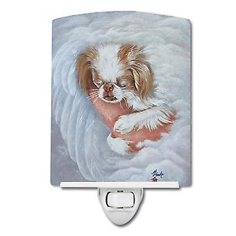 Japanese Chin in an Angels Arms Ceramic Night Light