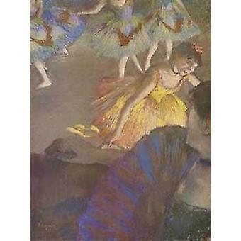 Ballerina und Dame mit Fan-Plakat-Druck von Edgar Degas (16 x 22)