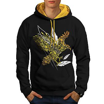 Bird Feather Fly Nature Men Black (Gold Hood)Contrast Hoodie | Wellcoda