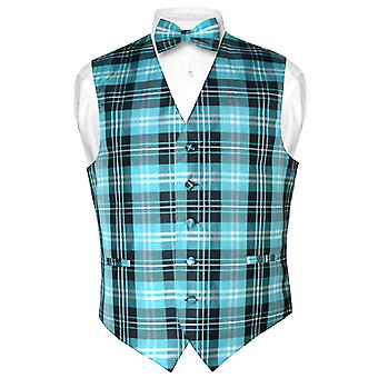 Men's Plaid Design Dress Vest & BOWTie BOW Tie Set