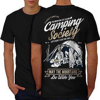 Camping Society Men BlackT-shirt Back | Wellcoda