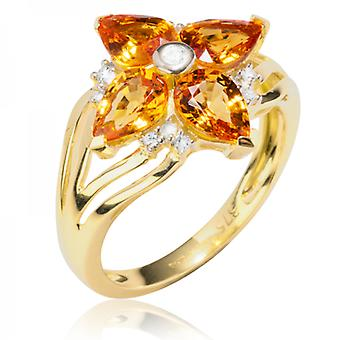 Shipton and Co Ladies Shipton And Co Exclusive 9ct Yellow Gold And Four 7x5 Pearshape Mandarin Garnets And 0.12cts Diamonds Ring RYD121SGD