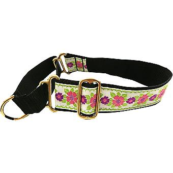 Dogcrafts 40-25mm Drop Martingale Dog Collar Pink Green Flowers