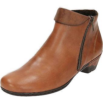 Zip alla caviglia Rieker 76961-24 in pelle tacco basso stivali pantaloni scarpe