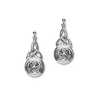 Sterling Silver Traditional Celtic Eternity Knotwork Design Pair of Earrings - E425