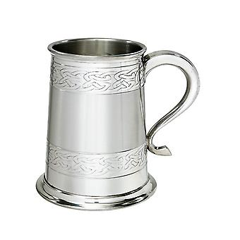 Keltische Bands reliëf Pewter Tankard - 1 pint