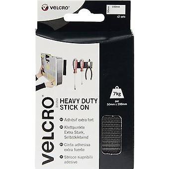 VELCRO® VEL-EC60239 Hook-and-loop tape stick-on Hook and loop pad, Heavy duty (L x W) 100 mm x 50 mm Black 2 Pair