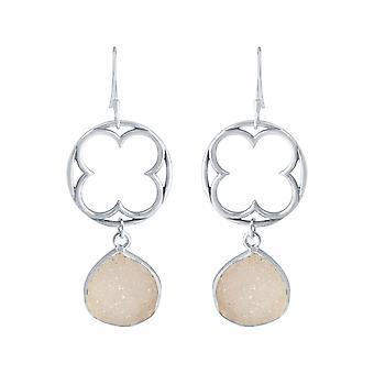 Gemshine Damen Ohrringe CROSS 925 Silber DRUZY Rose Quarz 5 cm