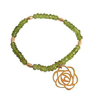 Grøn Peridot gemstone armbånd forgyldt blomst Art-Deco Grün