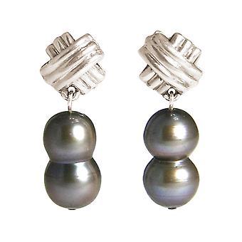 GEMSHINE örhängen barock odlade pärlor 925 silver eller förgyllda-Tahiti grå