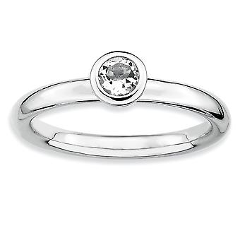 925 Sterling Silver Bezel Polished Rhodium plaqué Stackable Expressions Low 4mm Round White Topaz Ring Bijoux Cadeaux fo